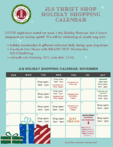 Graphic of JLS Thrift Shop Holiday Shopping Calendar